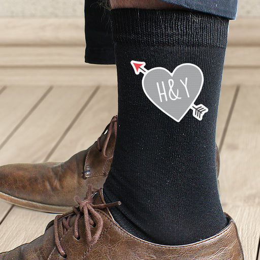 Personalised Initials Heart Mens Socks