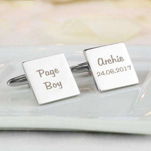 Personalised Wedding Role Square Cufflinks - 2 line from Pukkagifts.uk