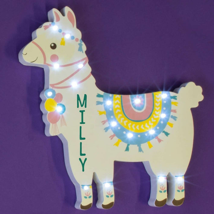 Personalised Llama LED Wall Light from Pukkagifts.uk