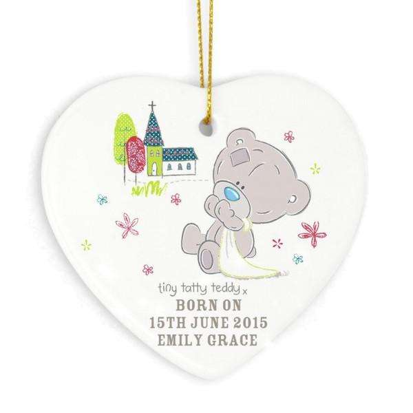 Personalised Tiny Tatty Teddy Christening Ceramic Heart Decoration from Pukkagifts.uk