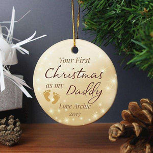 Personalised 1st Christmas As My Daddy Round Ceramic Decoration from Pukkagifts.uk