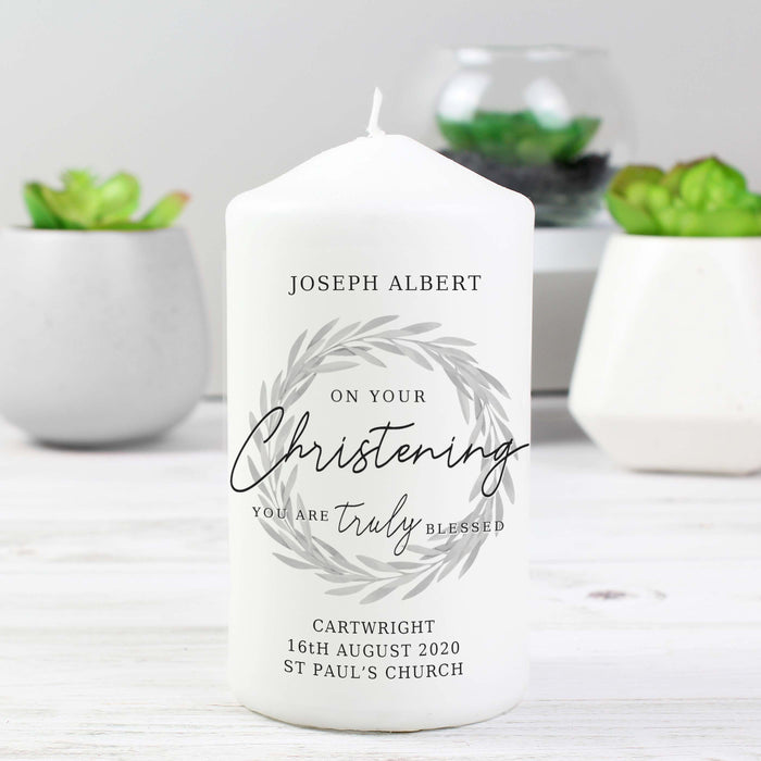 Personalised 'Truly Blessed' Christening Pillar Candle