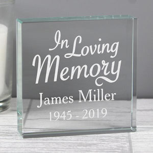 Personalised In Loving Memory Large Crystal Token from Pukkagifts.uk