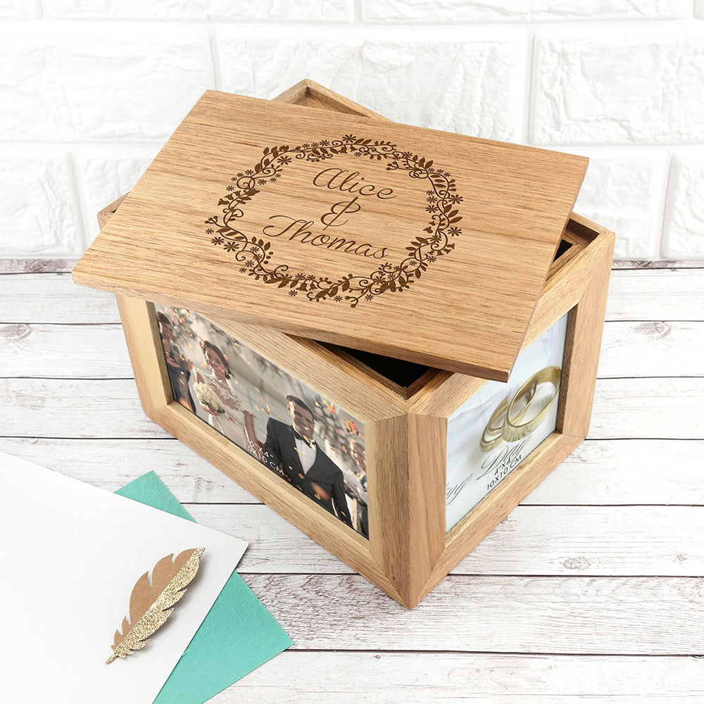 Personalised Floral Framed Couples' Midi Oak Photo Cube Keepsake Box