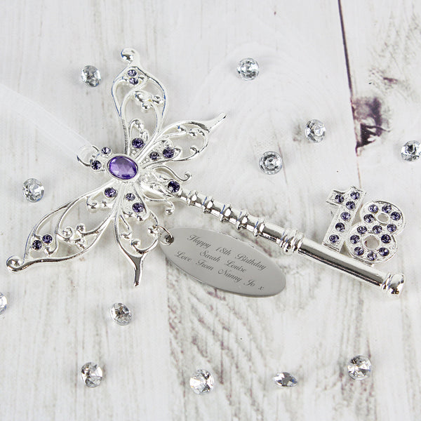 Personalised Lilac Butterfly 18th Birthday Key