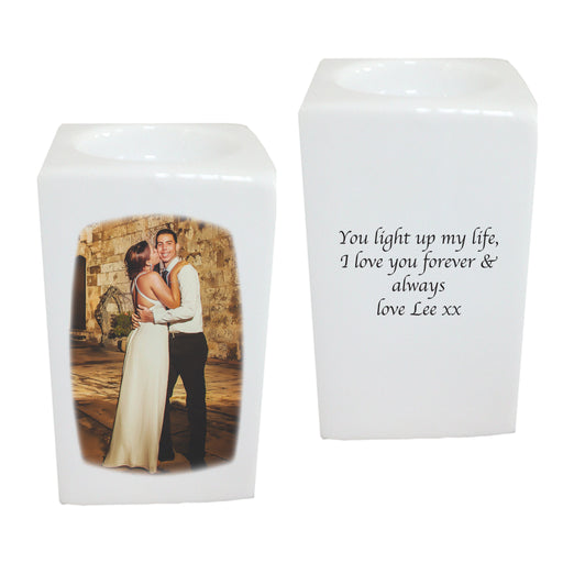 Personalised Bone China Photo Tea Light Holder