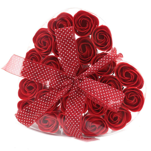 Set of 24 Soap Flower Heart Box - Red Roses from Pukkagifts.uk