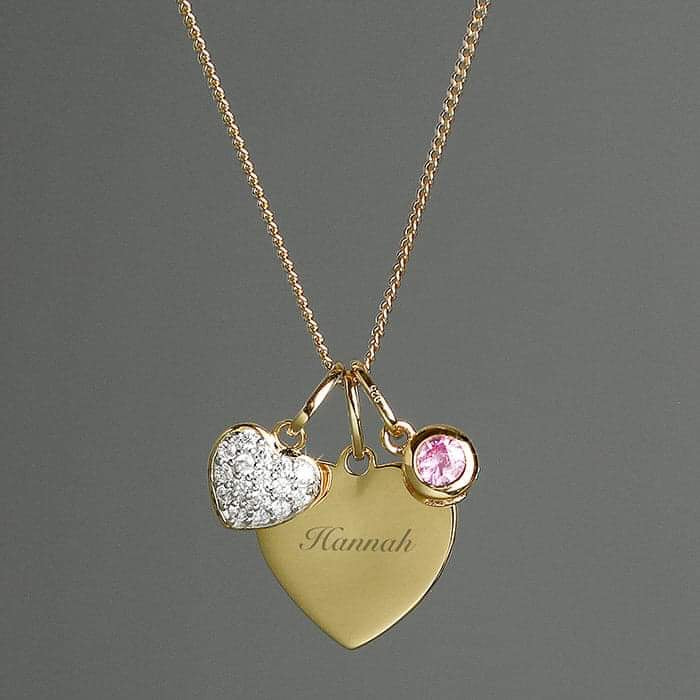 Personalised Sterling Silver & 9ct Gold Heart Necklace from Pukkagifts.uk
