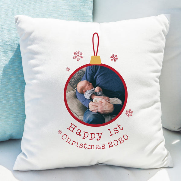 1st Christmas Photo Upload Cushion