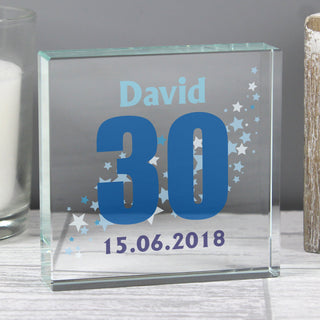Personalised Stars Birthday Age Crystal Glass Token Large