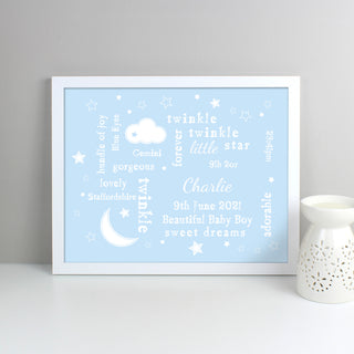 Personalised Blue Twinkle Twinkle Little Star Typography White Framed Print
