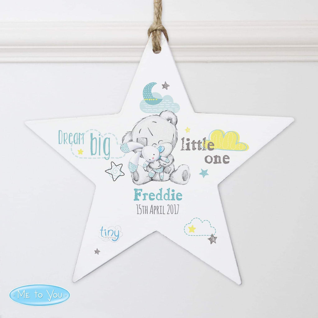 Personalised Tiny Tatty Teddy Dream Big Blue Wooden Star Decoration from Pukkagifts.uk
