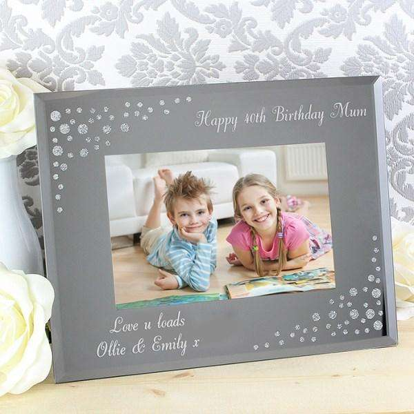 Personalised Any Message Diamante Landscape 6x4 Glass Photo Frame from Pukkagifts.uk