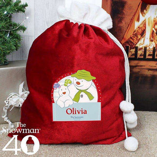 Personalised The Snowman and the Snowdog Luxury Pom Pom Sack from Pukkagifts.uk