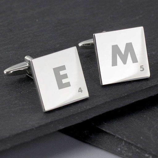 Personalised Initials and Age Square Cufflinks from Pukkagifts.uk