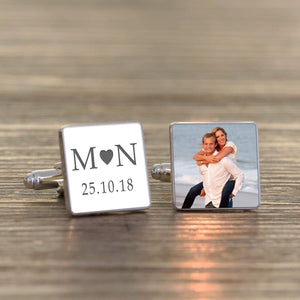 Personalised Initials Date Love Photo Cufflinks from Pukkagifts.uk