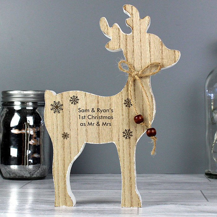 Personalised Rustic Wooden Reindeer Christmas Decoration from Pukkagifts.uk