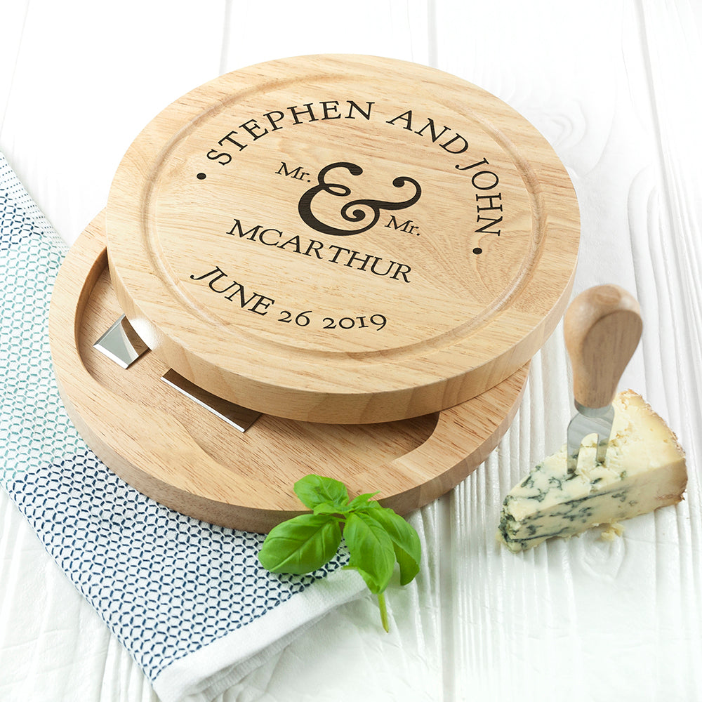 Personalised Couples Romantic Round Cheese Board with Knives from Pukkagifts.uk