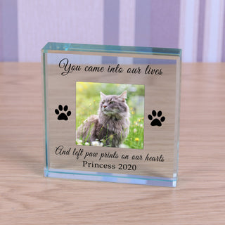 Personalised Cat Memorial Glass Token - Paw Prints On Our Hearts