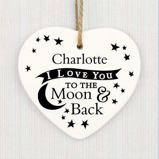 Personalised Love You To The Moon and Back... Ceramic Heart Decoration