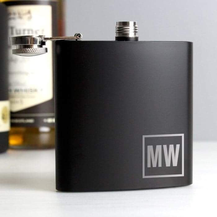 Personalised Initials Monogrammed Black Hip Flask from Pukkagifts.uk