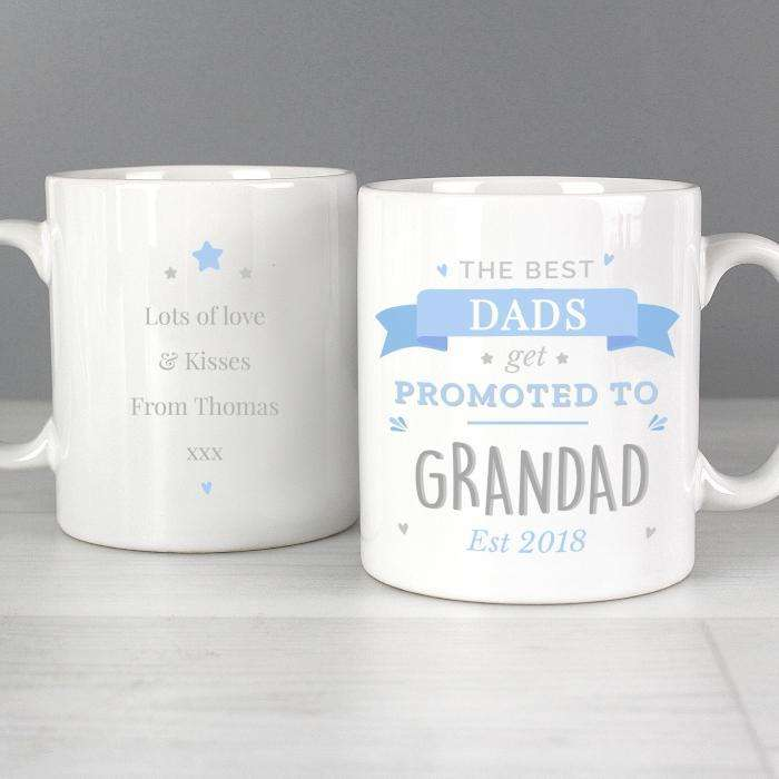 Personalised Blue Promoted to Mug from Pukkagifts.uk