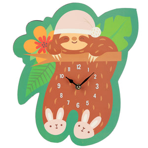 Fun Sleepy Sloth Shaped Wall Clock from Pukkagifts.uk