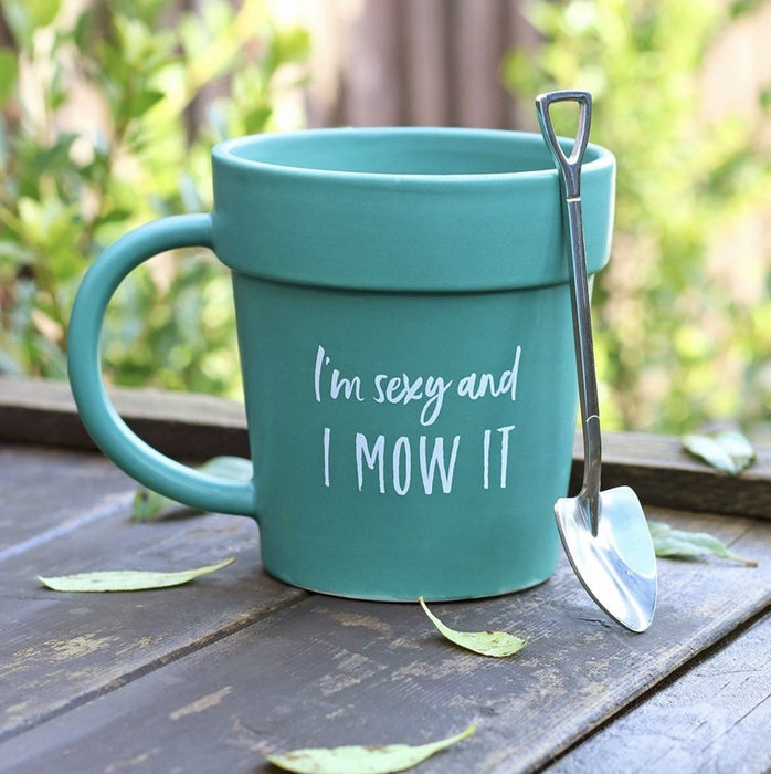Sexy and I Mow It Pot Mug and Shovel Spoon