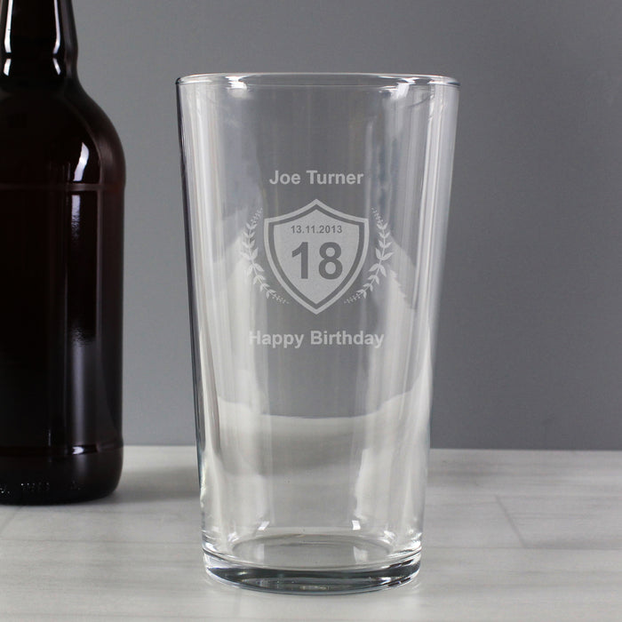 Personalised Birthday Age Crest Pint Glass