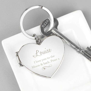 Personalised Swirl Heart Photo frame Keyring from Pukkagifts.uk