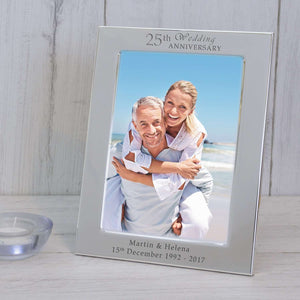 Personalised 25th Silver Wedding Anniversary Photo Frame,Pukka Gifts