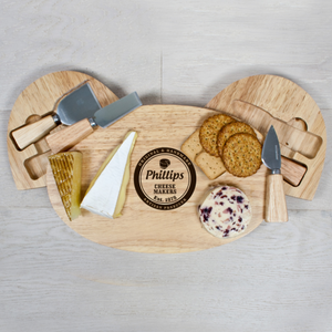 Personalised Cheese Makers Oval Cheese Board with Knives
