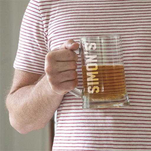 Engraved Beer Name Glass Tankard