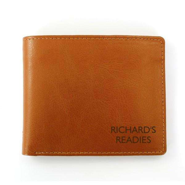 Personalised Any Message Tan Leather Wallet from Pukkagifts.uk