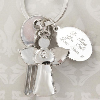 Personalied Silver Plated Angel Keyring from Pukkagifts.uk