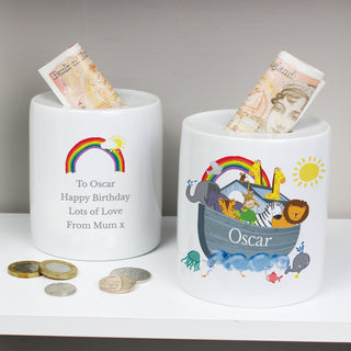 Personalised Noahs Ark Ceramic Money Box