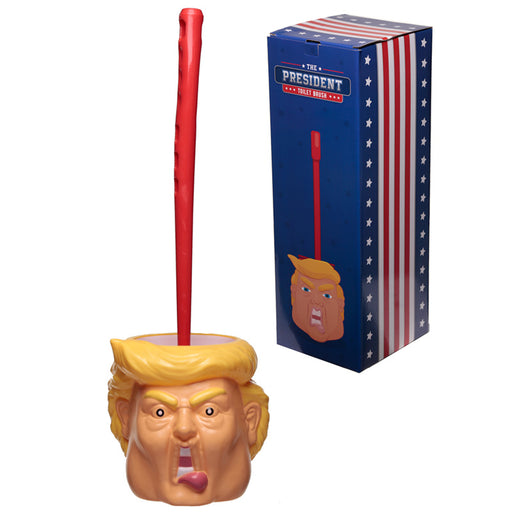 Fun President Donald Trump Head Toilet Brush and Holder