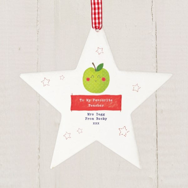 Personalised Apple for the Teacher Wooden Star Decoration