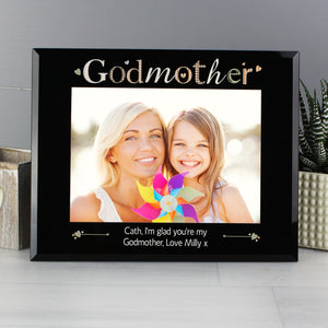 Personalised Godmother Black Glass Photo Frame 7x5
