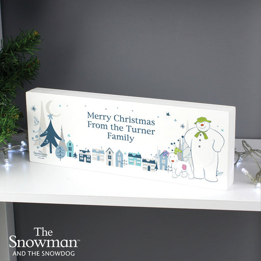 Personalised The Snowman and the Snowdog Christmas Wooden Block Sign