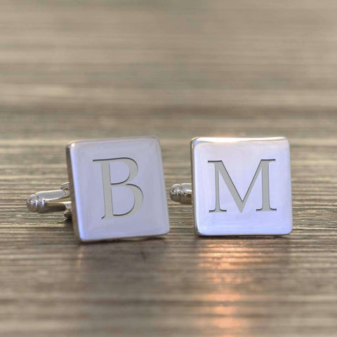 Engraved Single Initial Square Cufflinks,Pukka Gifts