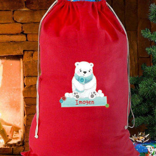 Personalised Polar Bear Cotton Christmas Sack from Pukkagifts.uk