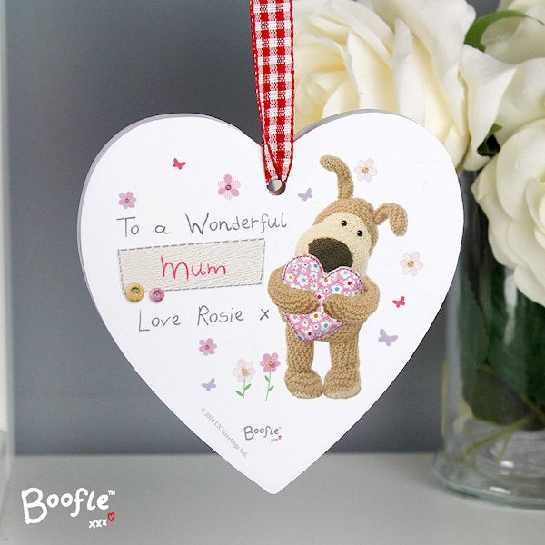 Personalised Boofle Flowers Wooden Heart Decoration from Pukkagifts.uk