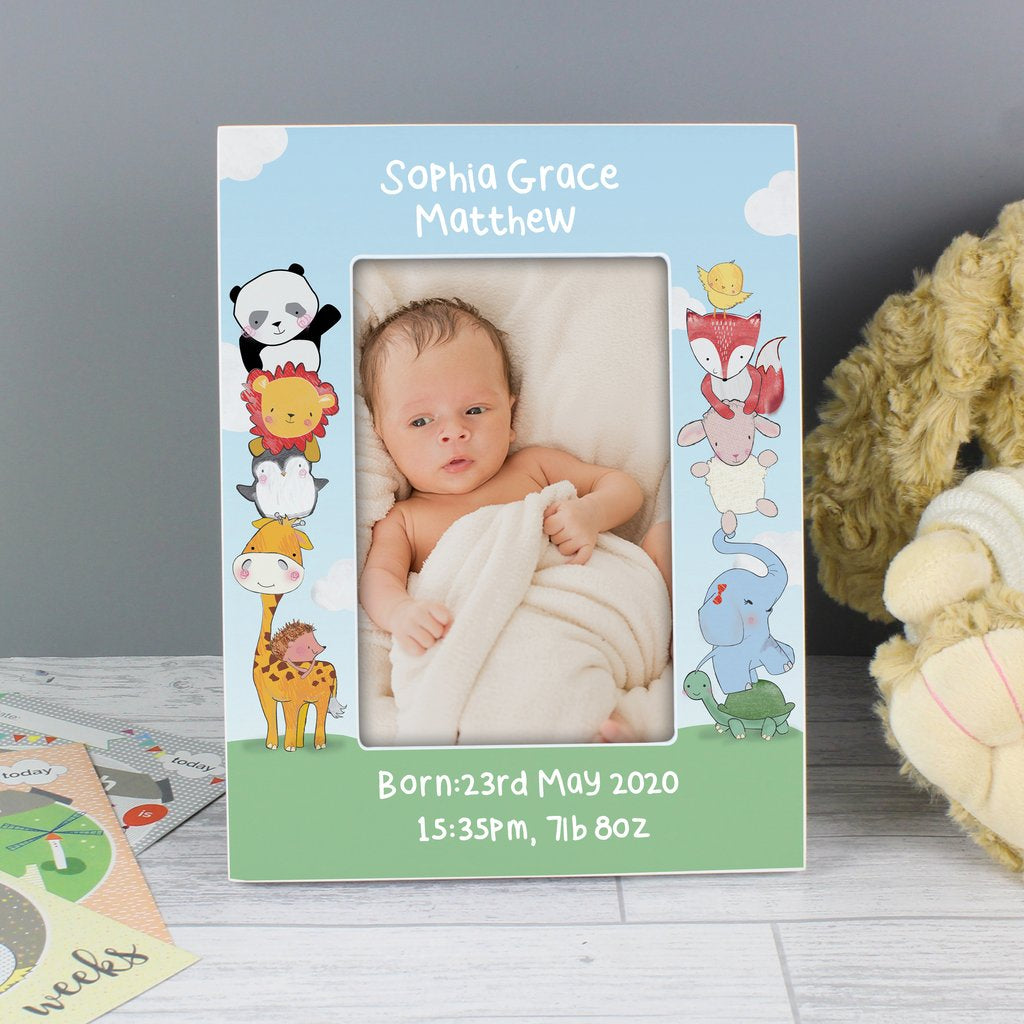 Personalised Baby Animals Photo Frame 6x4 Wooden from Pukkagifts.uk