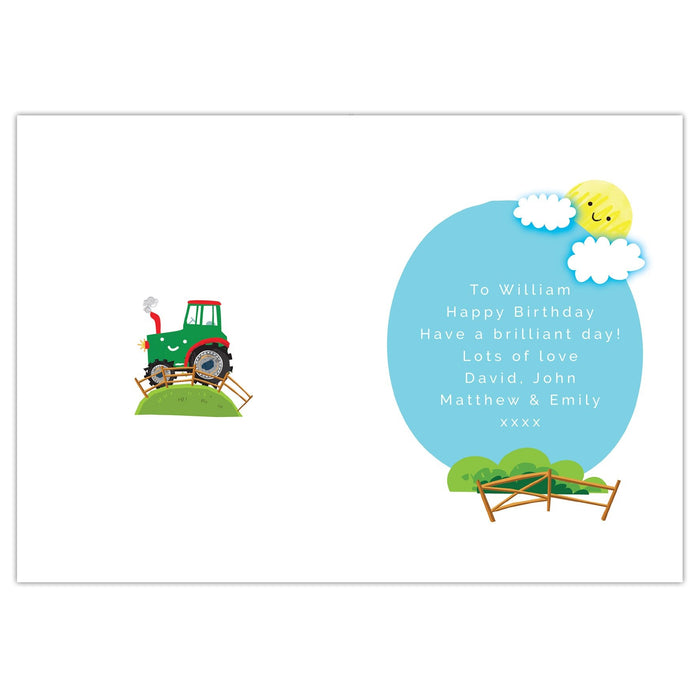 Personalised Tractor Birthday Card