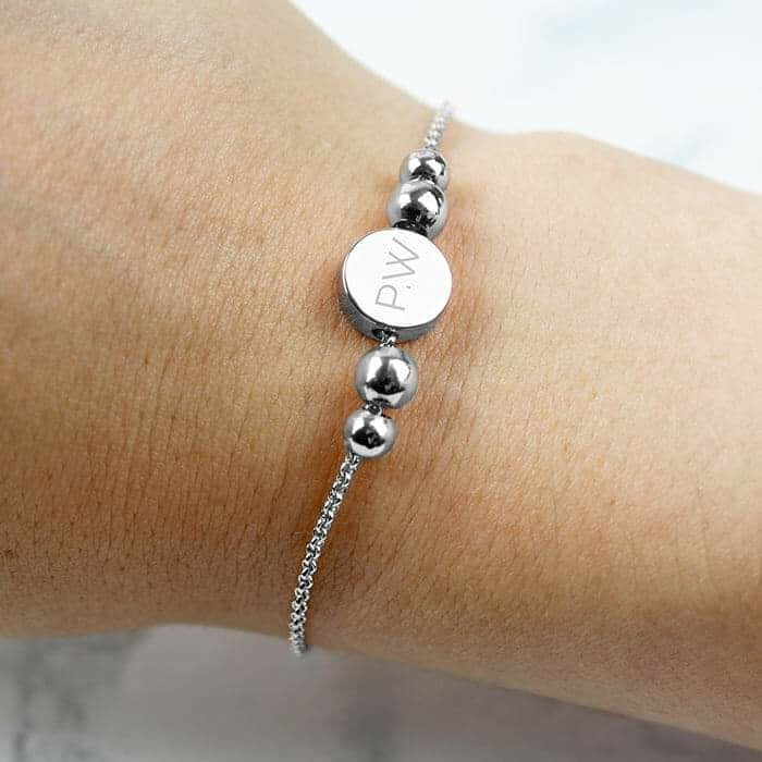 Personalised Silver Plated Initials Disc Bracelet from Pukkagifts.uk