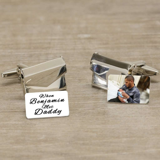When Baby Met Daddy Photo Envelope Cufflinks from Pukkagifts.uk