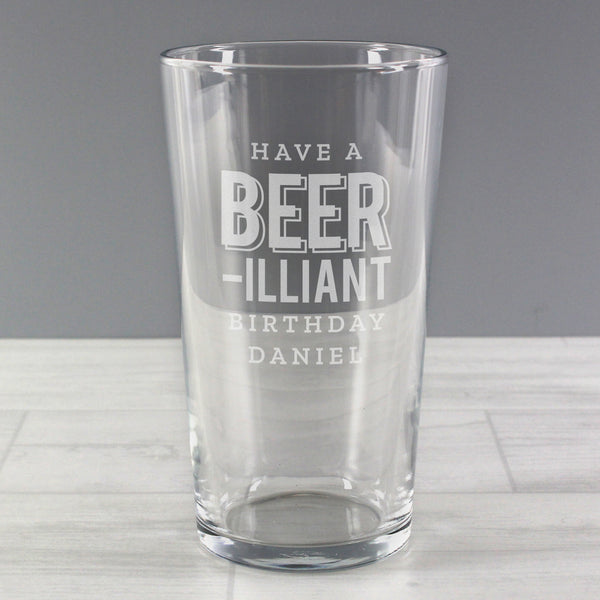 Personalised Beer-Rilliant Birthday Pint Glass