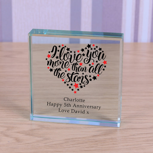 Personalised I Love You More Than All the Stars Glass Token