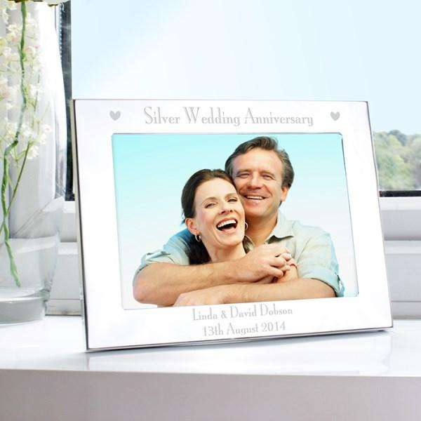 Personalised Silver Wedding Anniversary Photo Frame Landscape 7x5 from Pukkagifts.uk